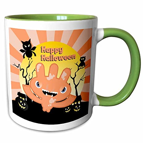 3dRose Belinha Fernandes   Halloween Celebration   Happy Halloween Message  And Pale Pink Funny Monster With