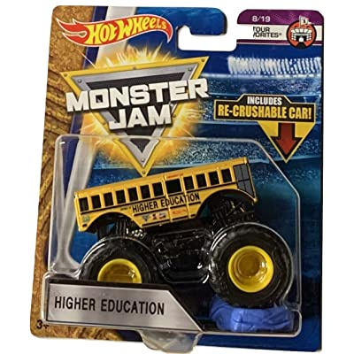 Hot Wheels Monster Jam 2020 Tour Favorites Higher Education (School Bus) With Re-Crushable Car 1:64 Scale: Toys & Games