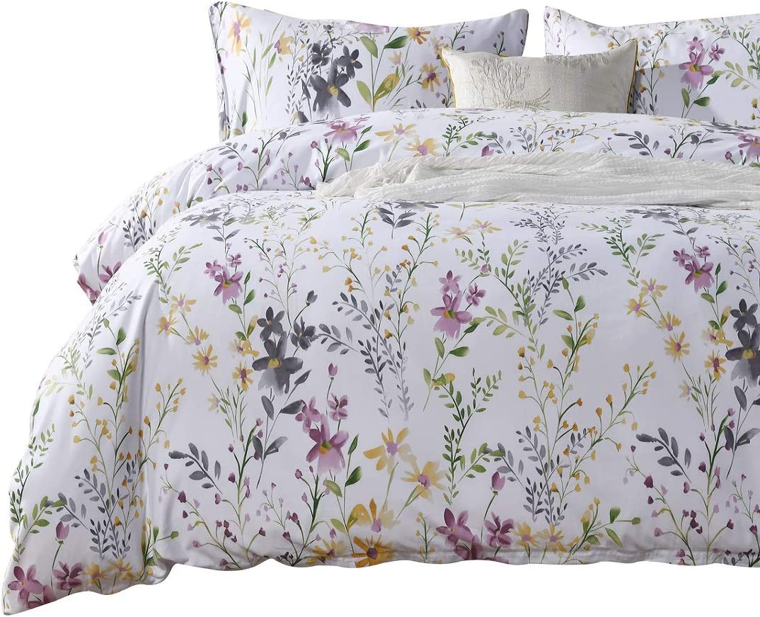 SexyTown Botanical California King Duvet Cover Set,100% Egyptian Cotton Bedding,Floral Yellow Flower and Tree Leaves Print Bedding Set 3-Piece