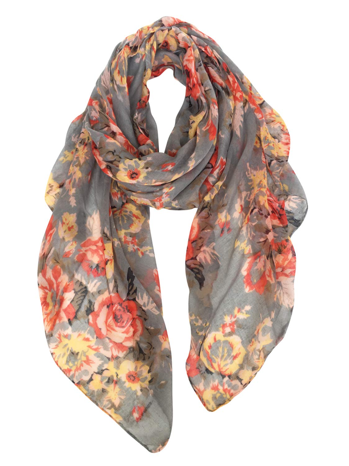 GERINLY Lightweight Scarves: Fashion Flowers Print Shawl Wrap For Women (Grey)