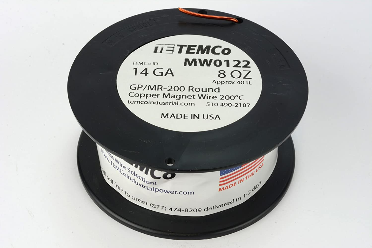 Amazon.com: TEMCo 14 AWG Copper Magnet Wire - 8 oz 40 ft 200°C ...