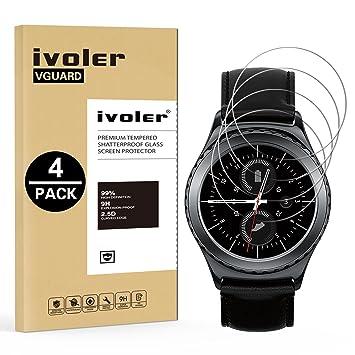 ivoler [4 Unidades] Protector de Pantalla Compatible con Samsung Gear S2 Classic/Gear Sport, Cristal Vidrio Templado Premium [Dureza 9H] ...