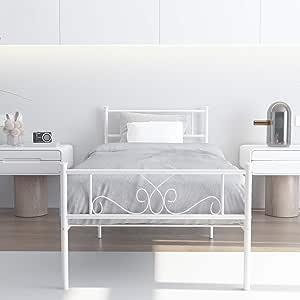 WeeHom Full Bow Design Metal Bed Frame Mattress Foundation//Platform Bed Heavy Duty Steel Slat Best for Kids Adults Student Brown