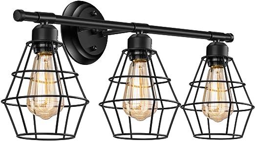 Amazon Com Industrial Bathroom Vanity Light 3 Lights Elibbren Vintage Metal Cage Wall Sconce Rustic Farmhouse Vanity Wall Light Fixture Home Improvement