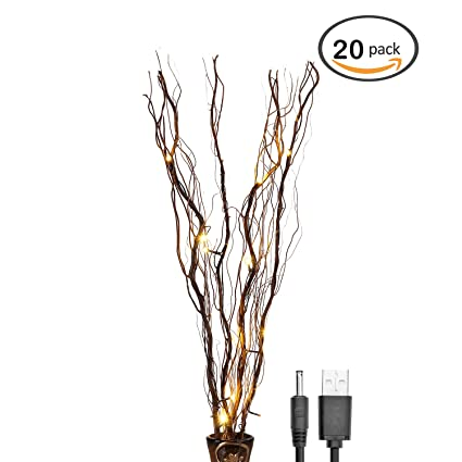 Amazon.com: Lightshare 20 Pack of Natural Twig Lighted Branch for ...