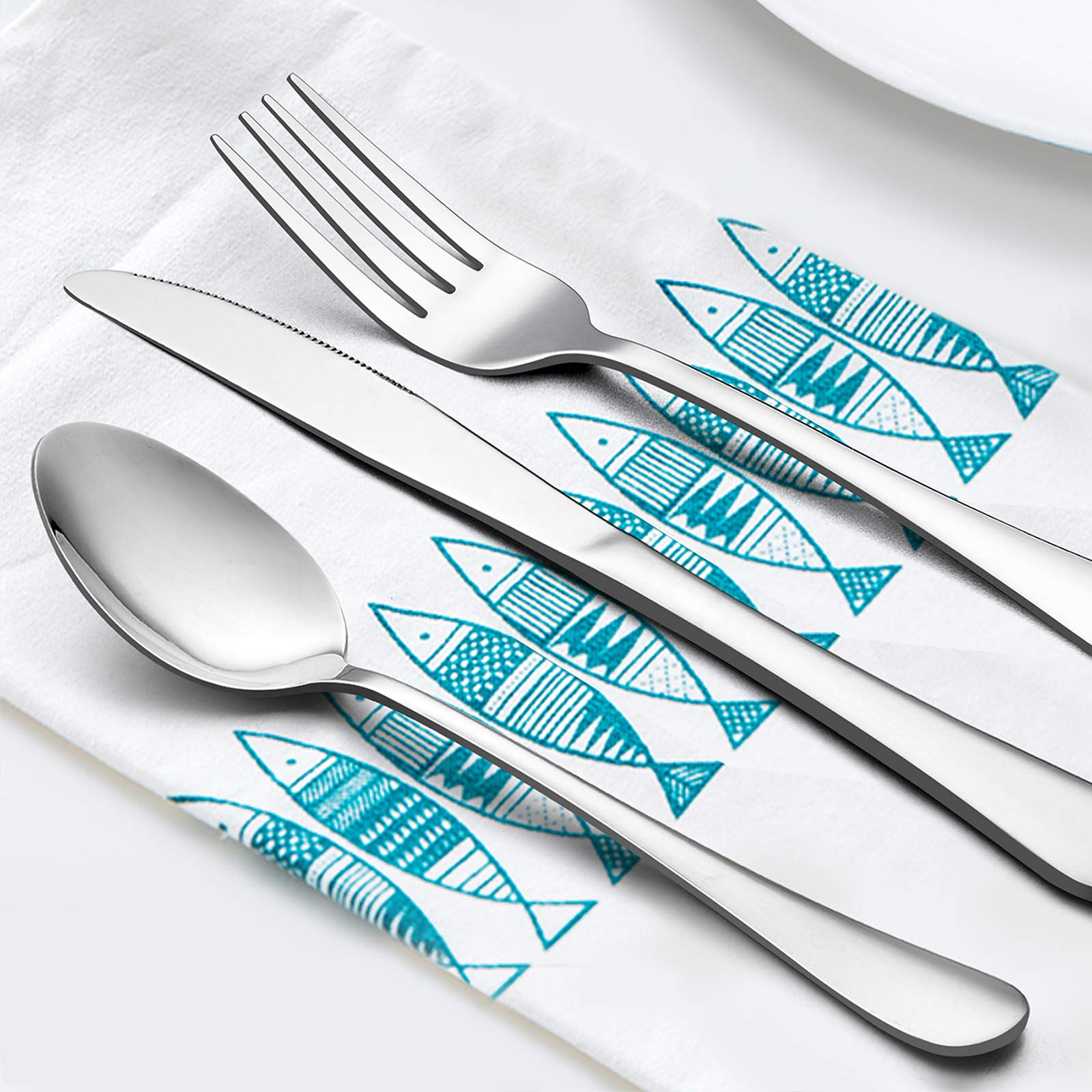 60-Piece Silverware Flatware Set for 12, LIANYU Stainless Steel Cutlery Eating Utensils Set, Kitchen Restaurant Party Tableware, Mirror Finished, Dishwasher Safe by LIANYU (Image #2)