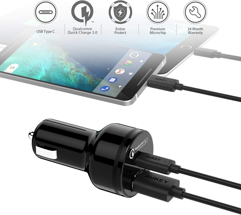 Amazon.com: AUKEY Cargador de coche con 5 V/3 A USB C y ...
