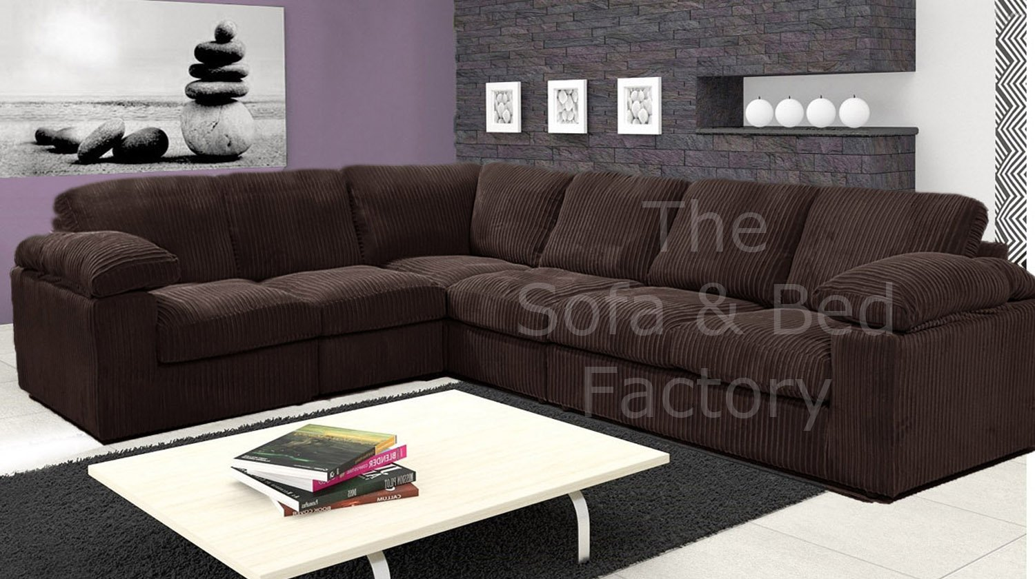 Details about Ruxley Large Brown Fabric 6 Seater Corner Sofa Cheap 2 C 3  Chocolate L Shape LHF