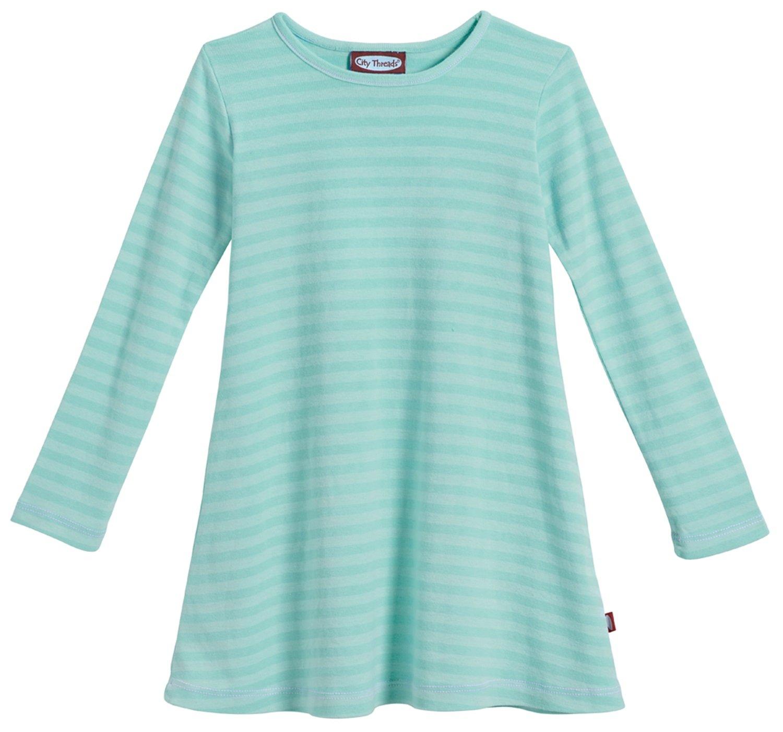 City Threads Little Girls' Cotton Long Sleeve Dress, Striped Wave, 6