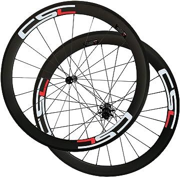 LOLTRA Juego de Ruedas para Bicicleta de Carretera, sin Tubo, Ruedas de Carbono Tubular con radios RL12 Hub CN 424: Amazon.es: Deportes y aire libre