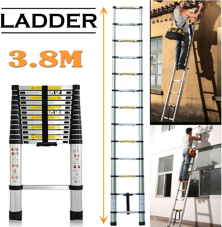 Escalera telesc/ópica de aluminio,escalera plegable de 5 m,escalera multifuncional,escalera de mano extensible,capacidad de carga m/áxima 150 kg