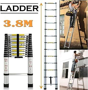 Escalera telescópica de aluminio de 3,8 m con mecanismo de bloqueo de resorte, antiderrapante, certificación EN131, capacidad máxima de 330 libras: Amazon.es: Bricolaje y herramientas