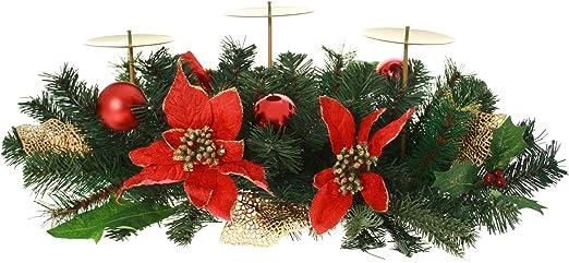 Centro de mesa para decoración de Navidad con portavelas de 3 ...