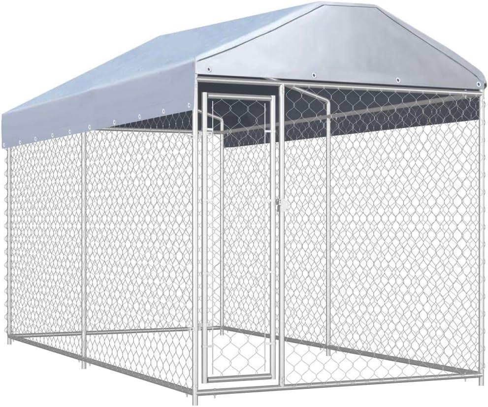 vidaXL Perrera de Exterior Casa Jaula para Perros Cercado Alambrada Mascotas Animales Granja con Toldo Acero Galvanizado Malla: Amazon.es: Productos para mascotas