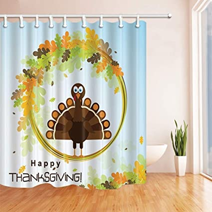 SZZWY Happy Thanksgiving Turkey On Leaves Shower Curtains In Bath Mildew Resistant Fabric Curtain