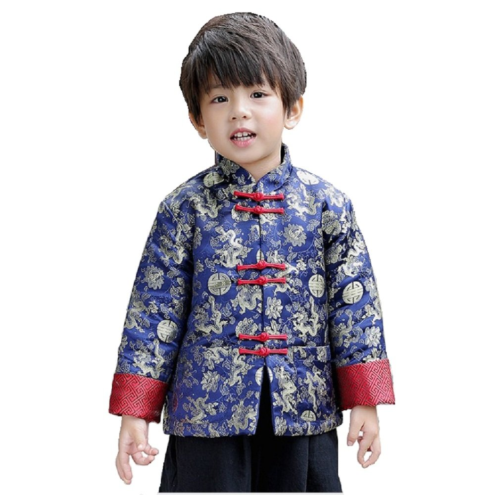 Hooyi Boys Thick Quilted Jacket Long Sleeve Tang Costumes Traditional Cheongsam Kid Clothing