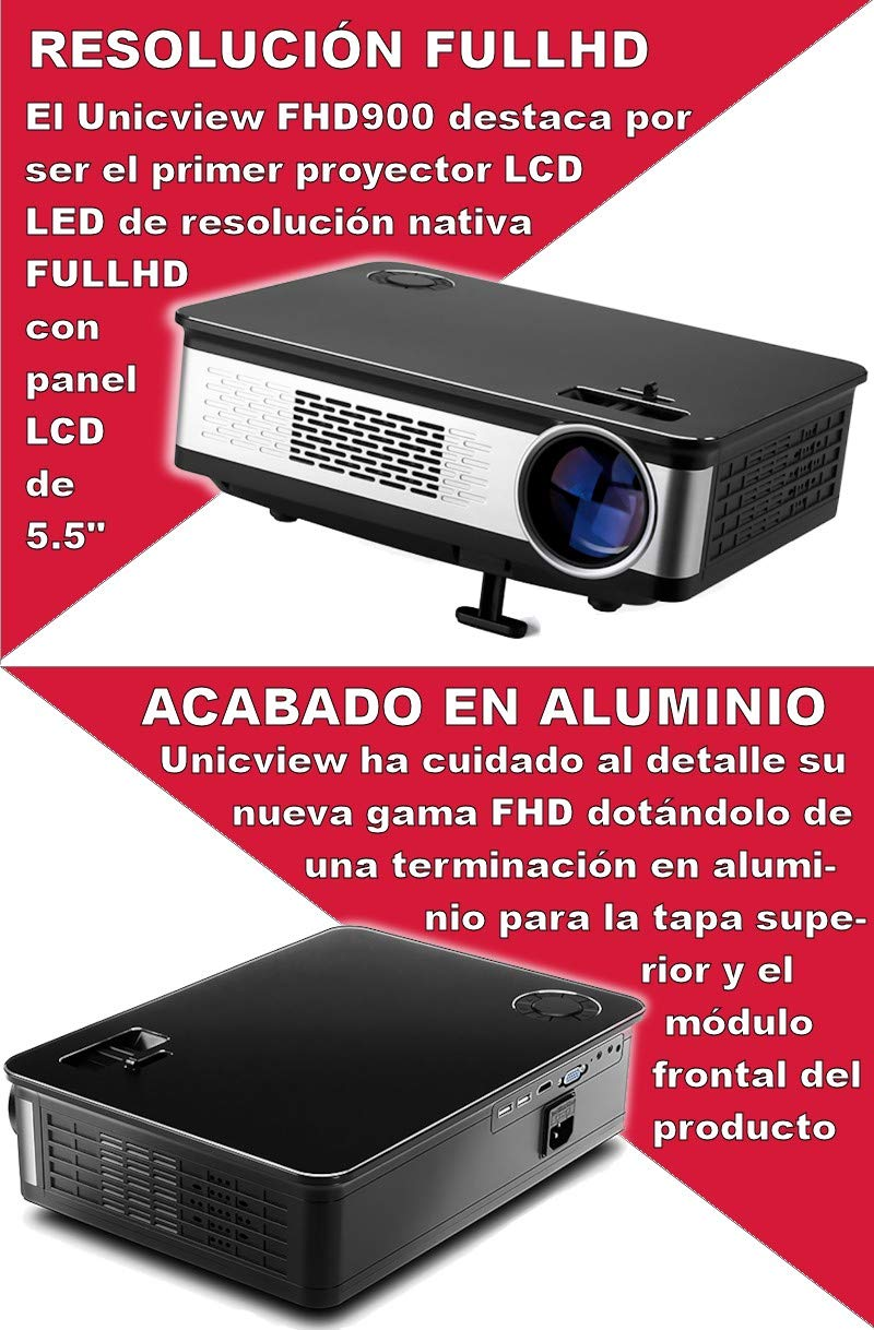 Proyector Full HD Nativo 1080P, UNICVIEW FHD900 (Actualizado 2019 ...