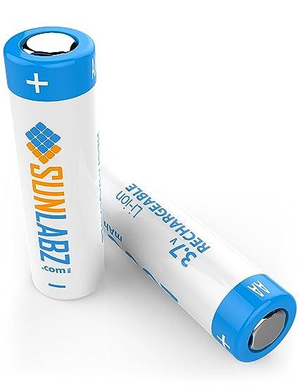 SunLabz 18650 3.7V Rechargeable Batteries - Flat Top - 2600mAh - 2 Pack