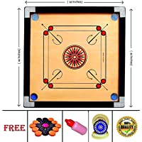 VBRO Carrom Board 32 Inch High Gloss Finish with Free Coins, Striker and Powder (Large, 32 Inch)