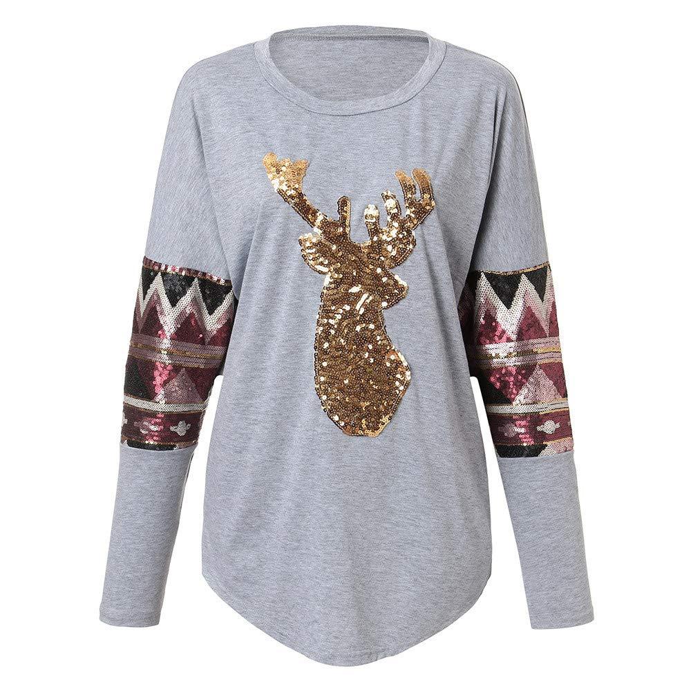 Yvelands Moda Mujer Manga Larga Navidad Elk Head Lentejuelas Imprimir Blusa Camiseta Tops: Amazon.es: Ropa y accesorios