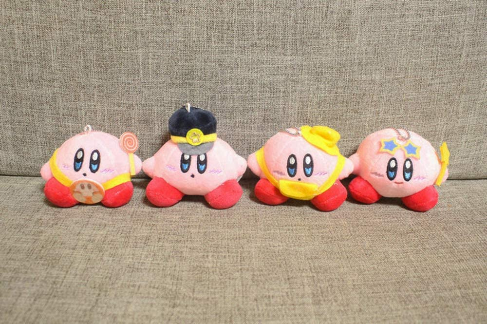 Kirby Plush Doll Keychain Set Pink Kirby Figure Collection Stuffed Toy for Children Girl Gift 4 Pack
