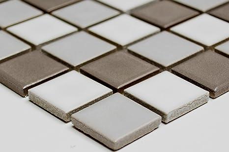 Mosaico piastrelle di rete parete doccia mix grigio bianco lucido