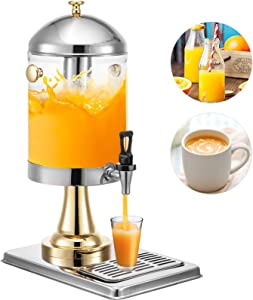 VEVOR Hotel Juice Dispenser, 8 L/2.1 Gallons Commercial Juice Dispenser, Single Tank Hotel Beverage Dispenser with Recessed Drip Tray and Center Ice Core, Stainless Steel Frozen Drink Dispenser