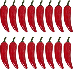 RONRONS 50 Pieces Fake Chili Pepper Artificial Vegetables Decor Lifelike Chinese Red Chili Home Kitchen Decorations Faux Fruit Photography Props Cabinet Ornament Display