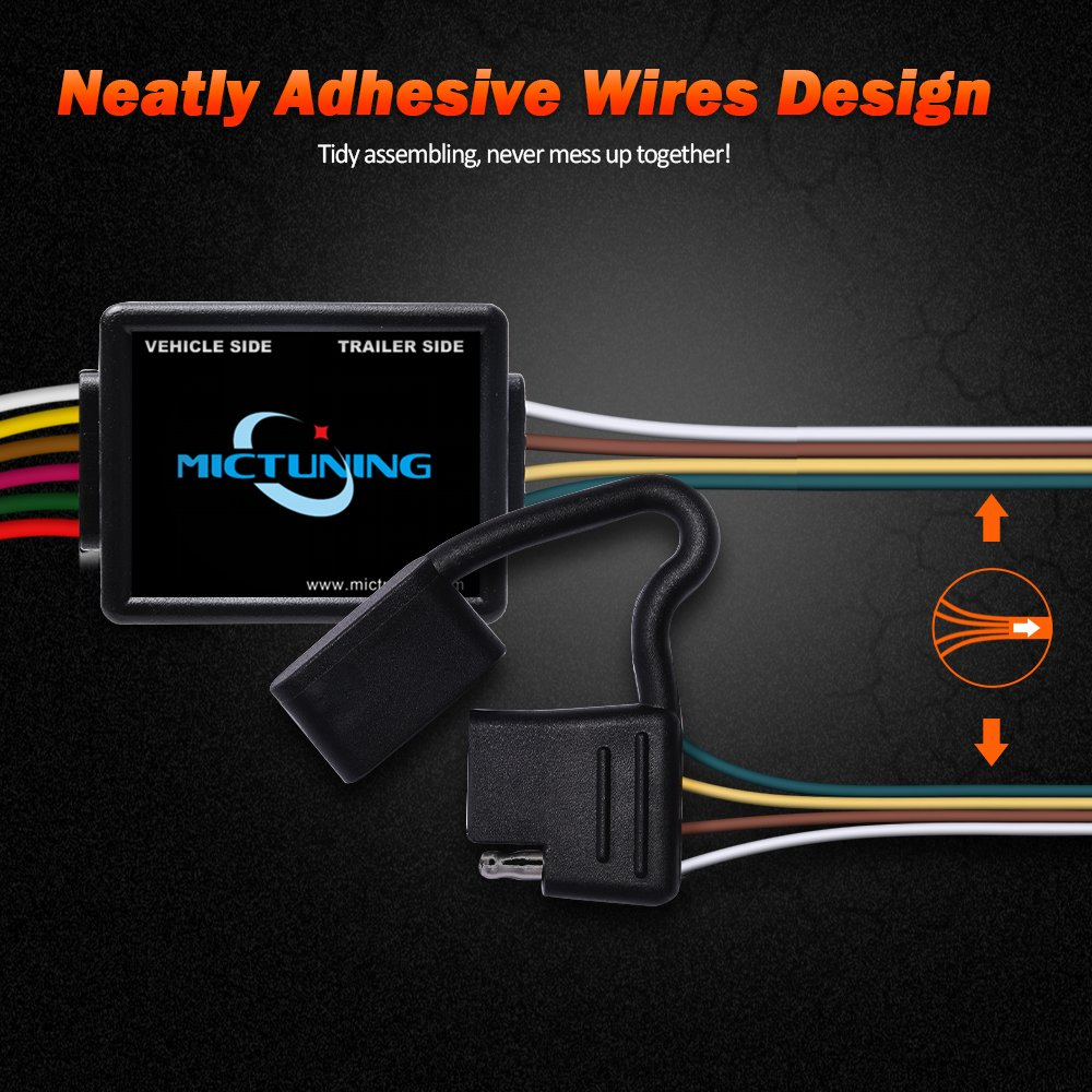 Mictuning 7ft Trailer Custom Wiring Harness With 4 Pin Flat Adhesive Connector For Subaru Forester Outback Wagon