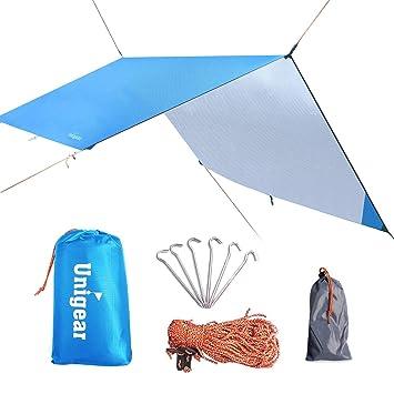 Hammock Rain Fly Tent Tarp Portable Lightweight Waterproof C&ing Shelter Sunshade for C&ing Outdoor Travel  sc 1 st  Amazon UK & Hammock Rain Fly Tent Tarp 3m x 3m Waterproof Windproof Snowproof ...