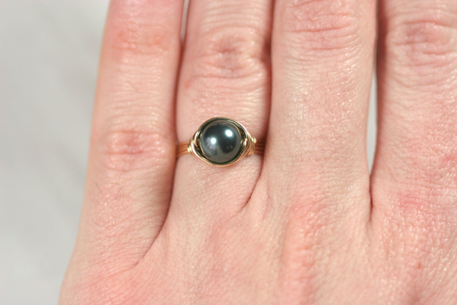 Gold Tahitian Pearl Ring Swarovski Pearl Ring Wire Wrapped Ring Handmade Yellow or Rose Gold