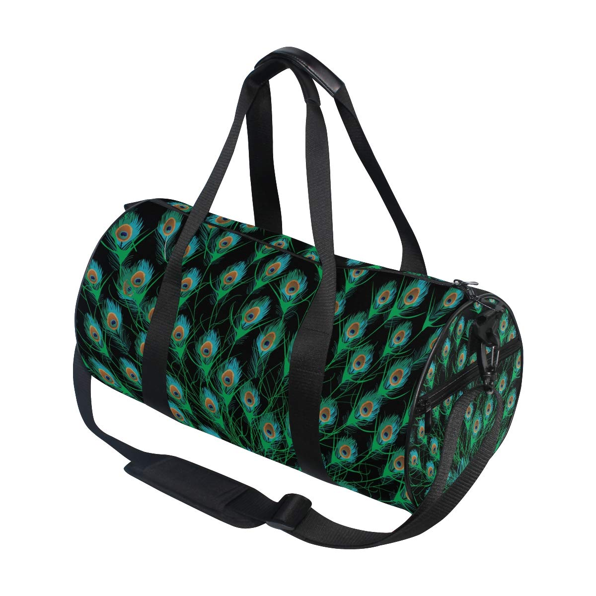 WIHVE Gym Duffel Bag Peacock Feathers Black Background Sports Lightweight Canvas Travel Luggage Bag