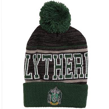 280bf1ced Harry Potter Slytherin Striped Cuff Pom Beanie, Grey/Green, One Size