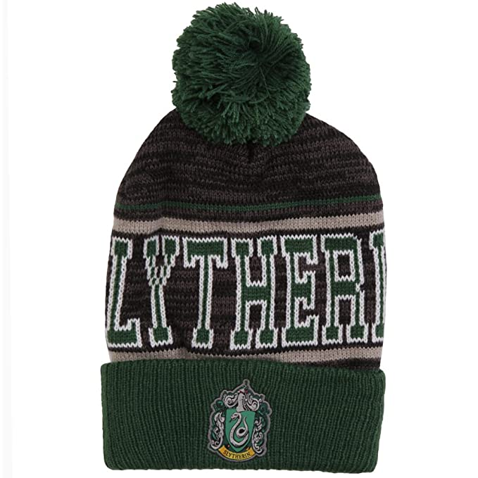 Amazon.com  Harry Potter Slytherin Striped Cuff Pom Beanie a4fc1bd8c2f
