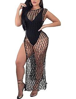 94cf051531 VWIWV Women's Sexy Bathing Suit Cover up Handmade Crochet Hollow Out Bikini  Swimwear Summer Beach Long