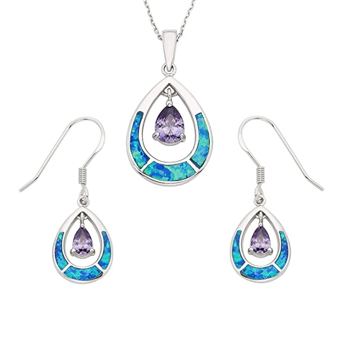 28833342a Amazon.com: Sterling Silver Created Blue Opal & Amethyst CZ Teardrop  Earrings and Pendant Set with 18