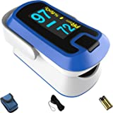 mibest OLED Finger Pulse Oximeter, O2 Meter, Dual Color White/Blue