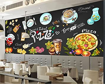 Wonderlijk BZDHWWH Alle Wallpaper Murals Hd Hand-Drawn Tafel Pizza Shop TB-59
