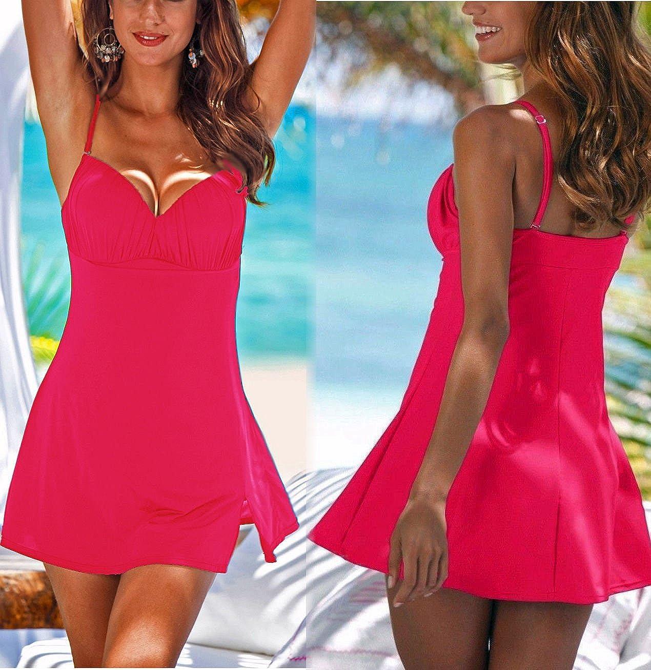 3cd673e03a30b Markenware Multiway Badeanzug Badeanzugkleid Badekleid Gr. 50 Cup C - 100 C  pink 972597: Amazon.de: Bekleidung