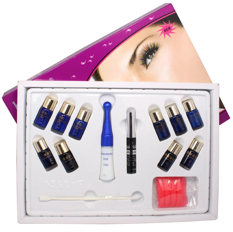 Hot Sale! 8 IN 1 Eyelash Lashes Eye Lash Curling Perming Curler Extra  Longer Glue Perm Solution Tools Box