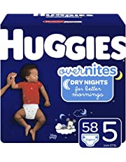 HUGGIES OverNites Night Time Baby Diapers, Size 5, 58 count
