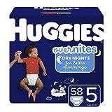 HUGGIES OverNites Diapers, Size 5, 58