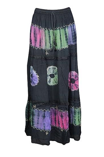 de57283abd Amazon.com: Womens Maxi Skirt Vintage Tie Dye Flare Summer City Chic Flirty  Gypsy Long Skirt (Black 11): Clothing