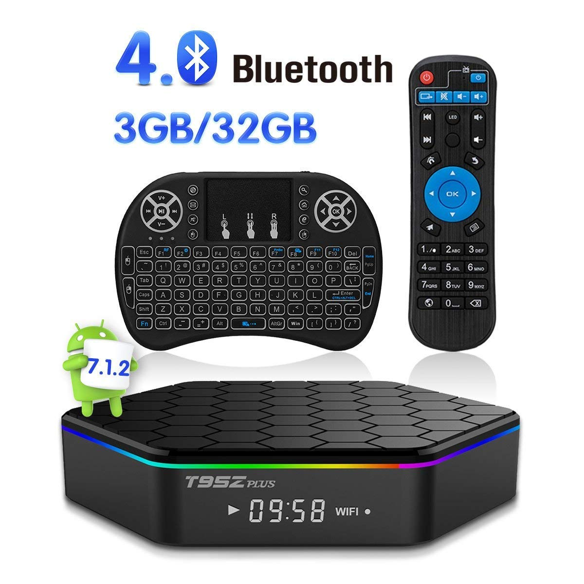Android TV Box T95Z Plus Android 7.1.2 TV Box 3G+32G Amlogic S912 Octa-Core, 2.4/5.8G Dual-Band Wi-Fi/10-1000M LAN 64Bit BT4.0 H.265 UHD 4K Android Box with Mini Wireless Keyboard & Remote by Tech-Well