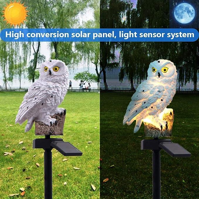 Solar Eule LED Solarleuchte Eulen Gartenbeleuchtung Solarlampe Solarlicht Braun
