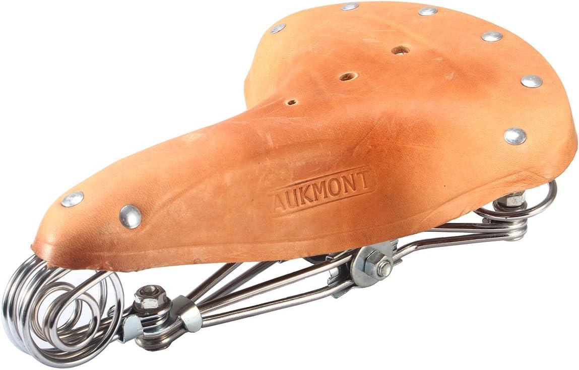 New Black Genuine Leather Vintage Classic Bicycle Retro Bike Saddle Spring Seat