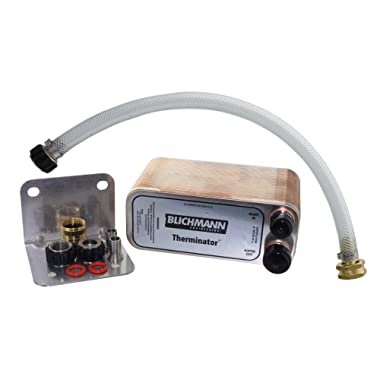 Blichmann Therminator, Beer Wort Chiller, Stainless Steel, 1/2  Male NPT Fittings, 3/4  male garden hose threads, Includes Back Flush Hose Assembly