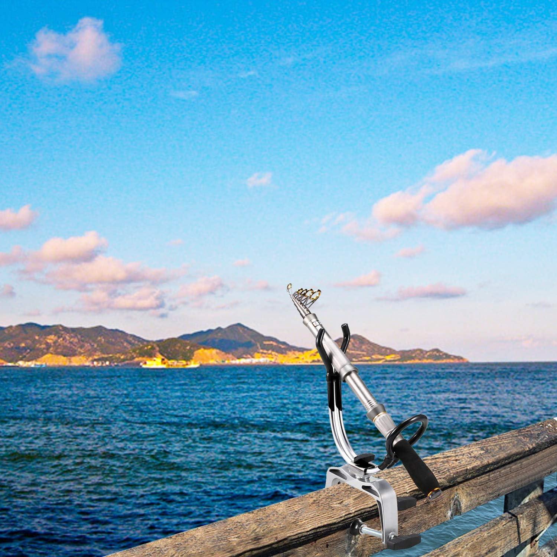 Klemmbefestigung max 5 cm Rutenhalter Angel 360 Grad Drehbare Angelrutenhalterung aus Aluminiumlegierung f/ür Boot Kajak Yacht Rack Equipment
