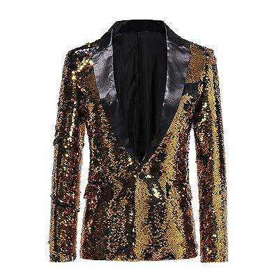 Mens Suit Slim Fit Fashion Sequin Dance Dinner Blazer Tuxedo Jacket Gold at Men's Clothing store