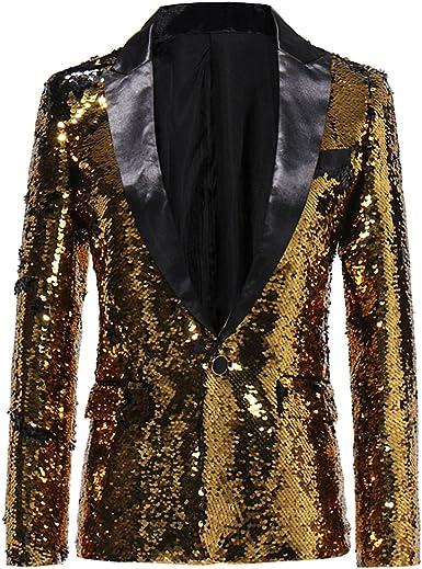 Abetteric Mens Sequin Glitter Tuxedo Stage Clothes Trim-Fit Sports Coat Blazers